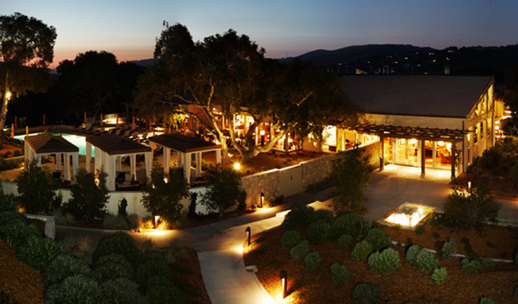 The grounds of Carmel Valley Ranch lit up at night, California, USA