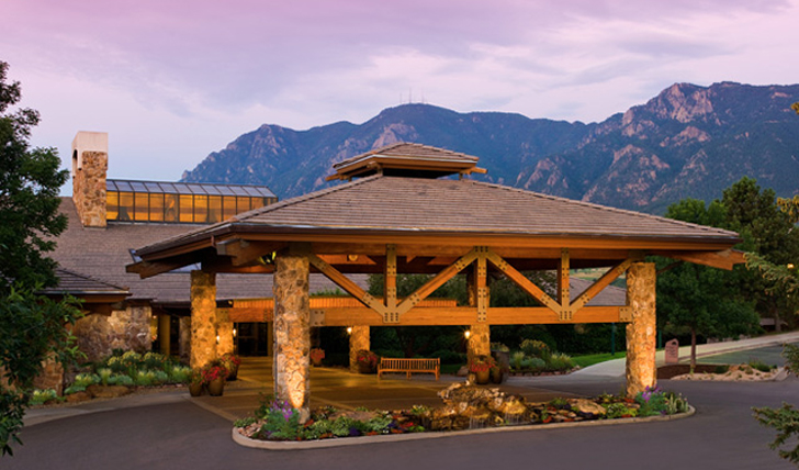The magical back-drop of the Cheyenne Mountain Resort