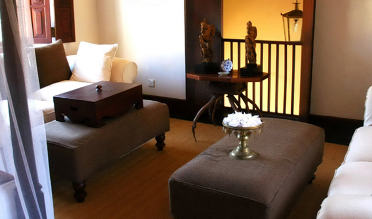 a luxurious suite seating area at Galle Fort Hotel, Sri Lanka