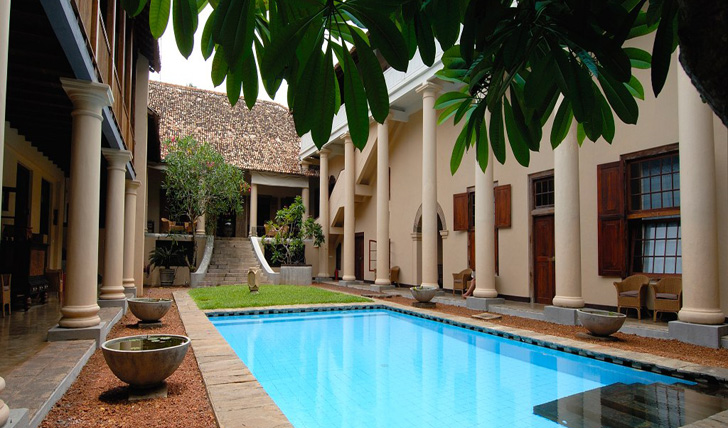 The beautiful columned courtyard and pool at the Galle Fort Hotel, Sri Lanka