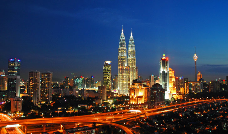 The bright lights of Kulala Lumpur