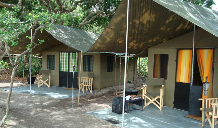 Your spacious luxury tent with patio area at Mahoora Safari Camp, Sri Lanka