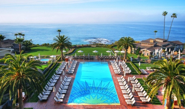 Views over the pool and coast at Montage Laguna Beach, USA