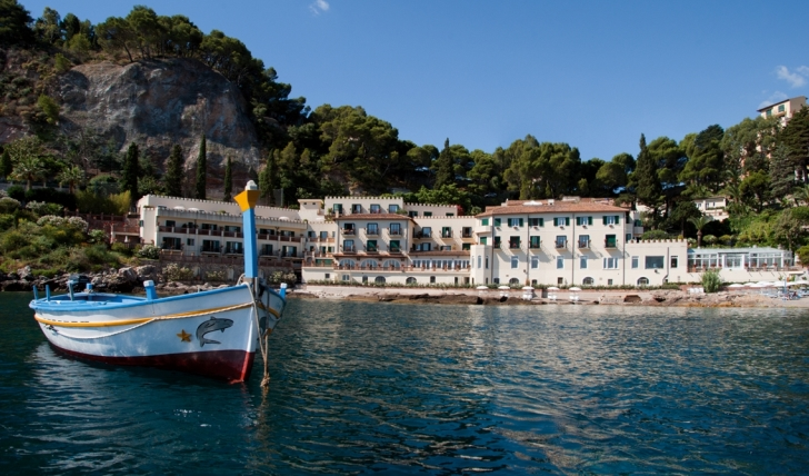 The beautiful view of Villa Sant' Andrea from the sea