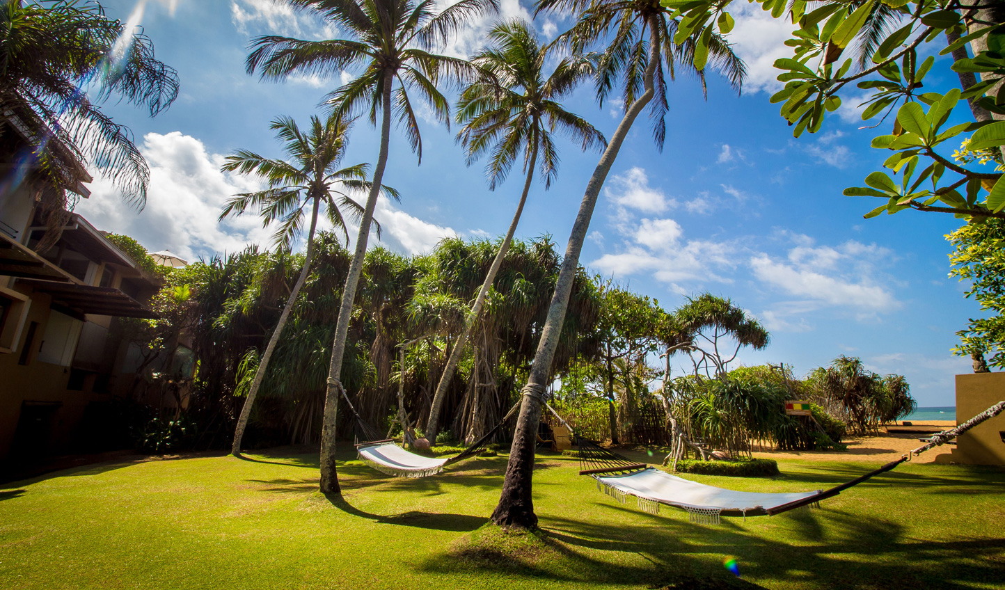 Palm fringed gardens and hammocks swayed by an ocean breeze