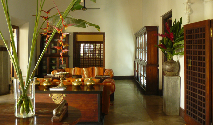 One of the beautifully decorated lounging areas at the Galle Fort Hotel, Sri Lanka
