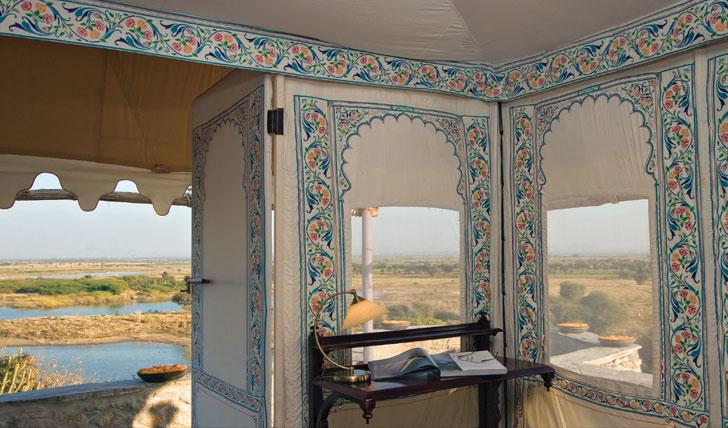 tent interior at Chhatra Sagar Nimaj