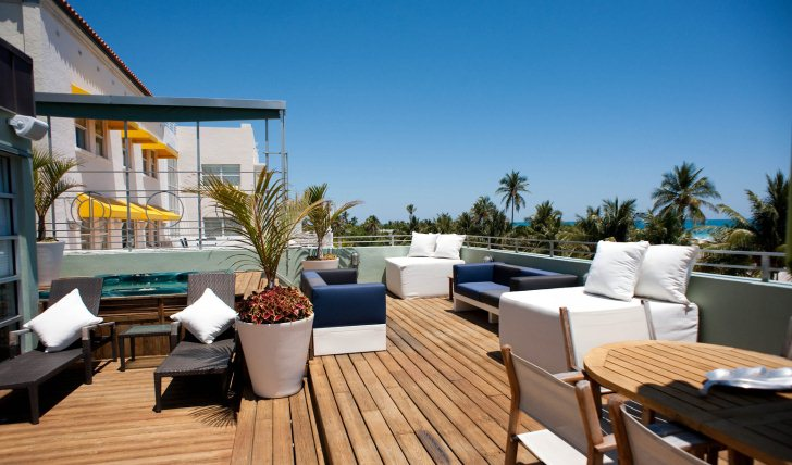 The penthouse's sun terrace at the Pelican Hotel, USA