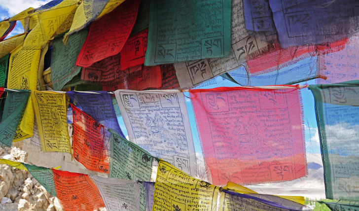 Tibetan prayer flags at the Shey Palace