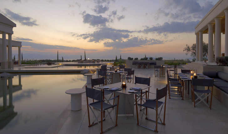 Dine beneath the starts at the Amanzoe restaurant