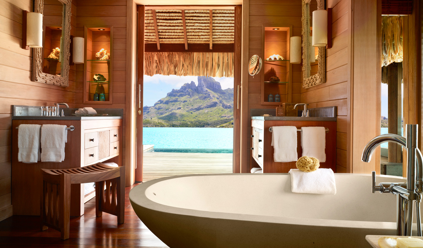 Sink into the tub and soak up views of Mount Otemanu