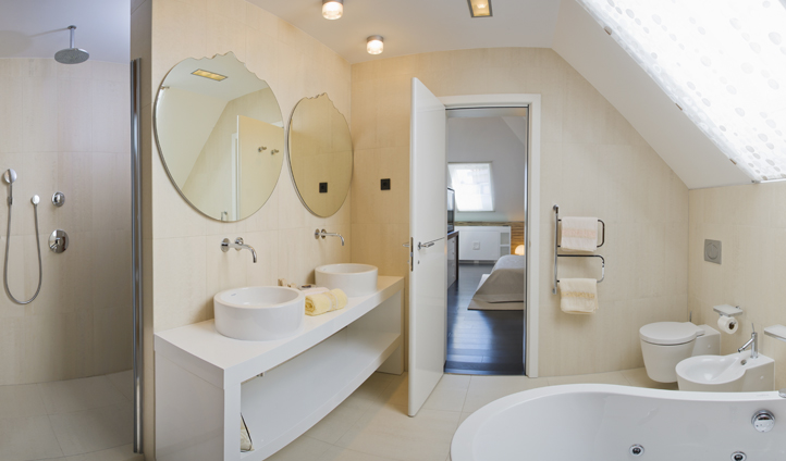 The Luxury Marmont Suite also features a modern spa bathroom