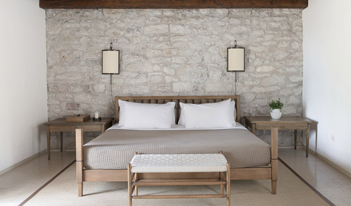 Cottage bedrooms designed in keeping with traditional Montenegrin fishermen's cottages