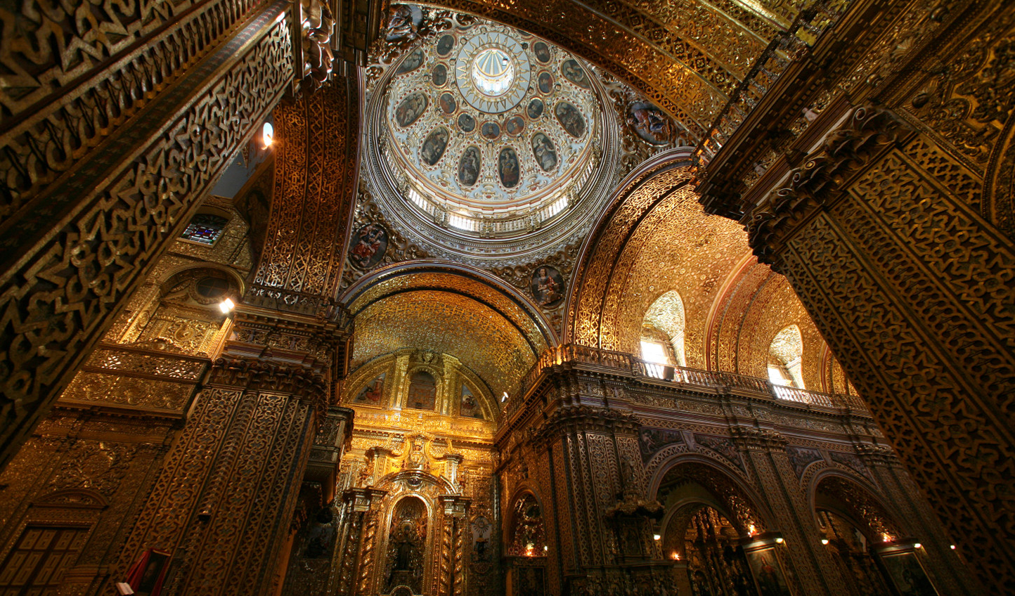 Marvel at the Iglesia de la Compania in Quito