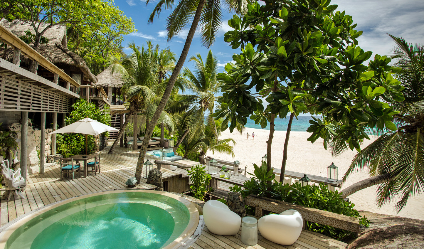 Soft white sands just steps away from your private villa