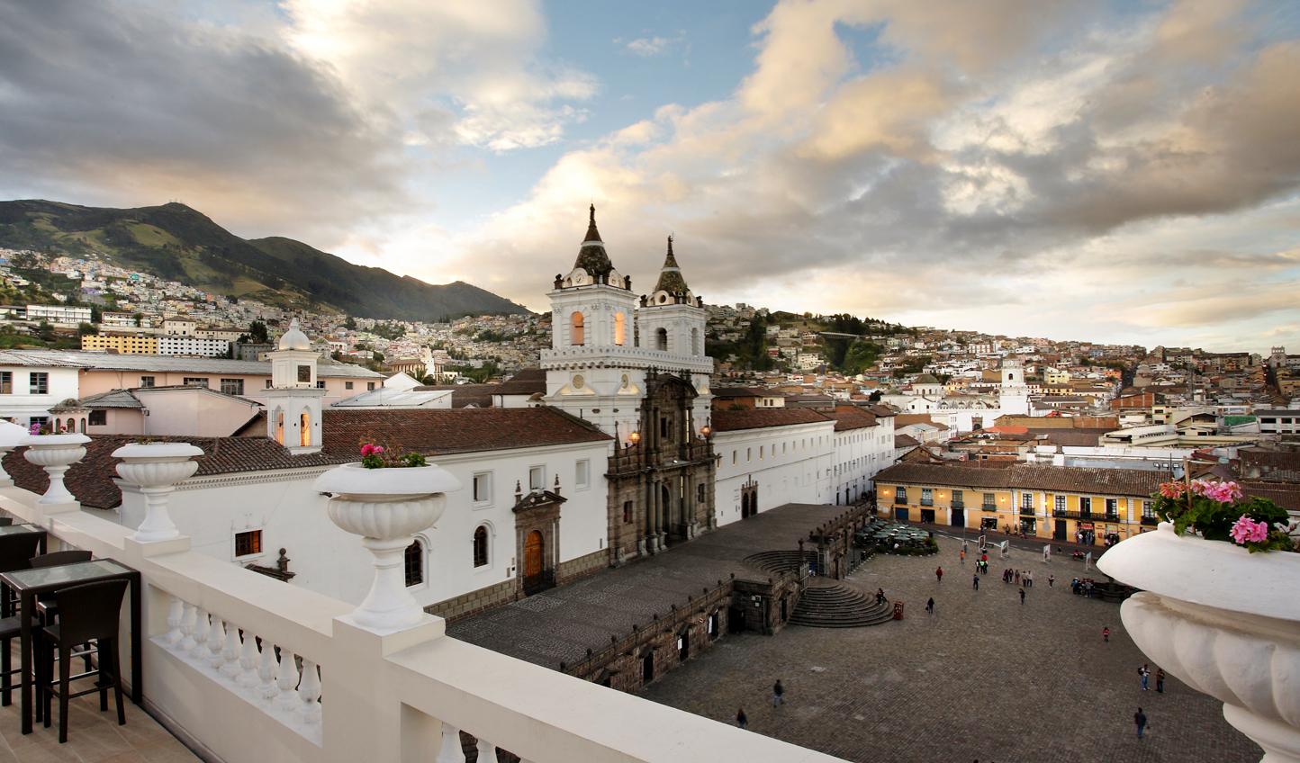 The view of Plaza San Francisco from Casa Gangotena