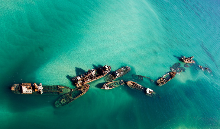 Tangalooma  wrecks from above, Brisbane