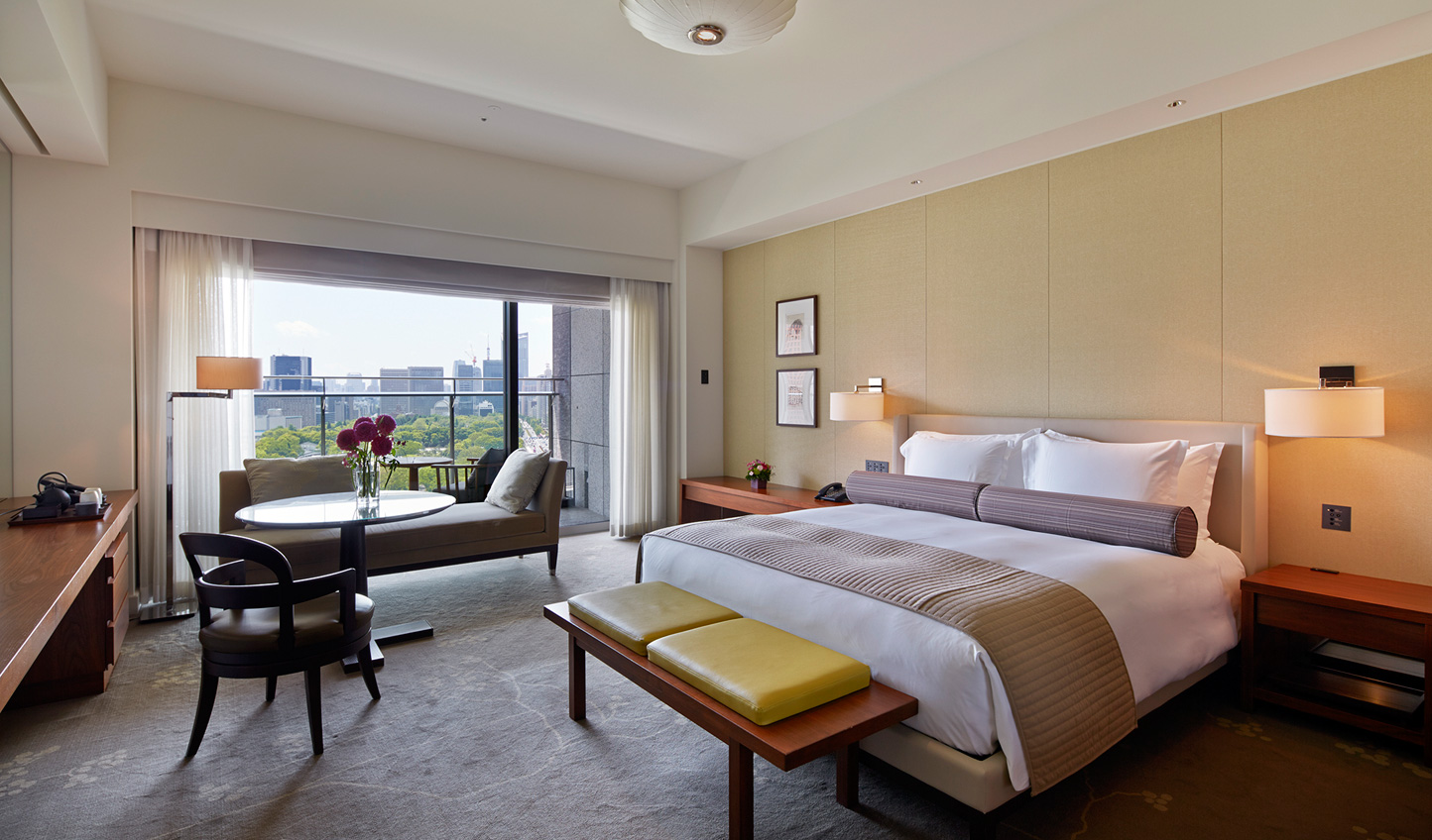 Look out over Wadakura Fountain Park and the Imperial Palace Plaza from your room