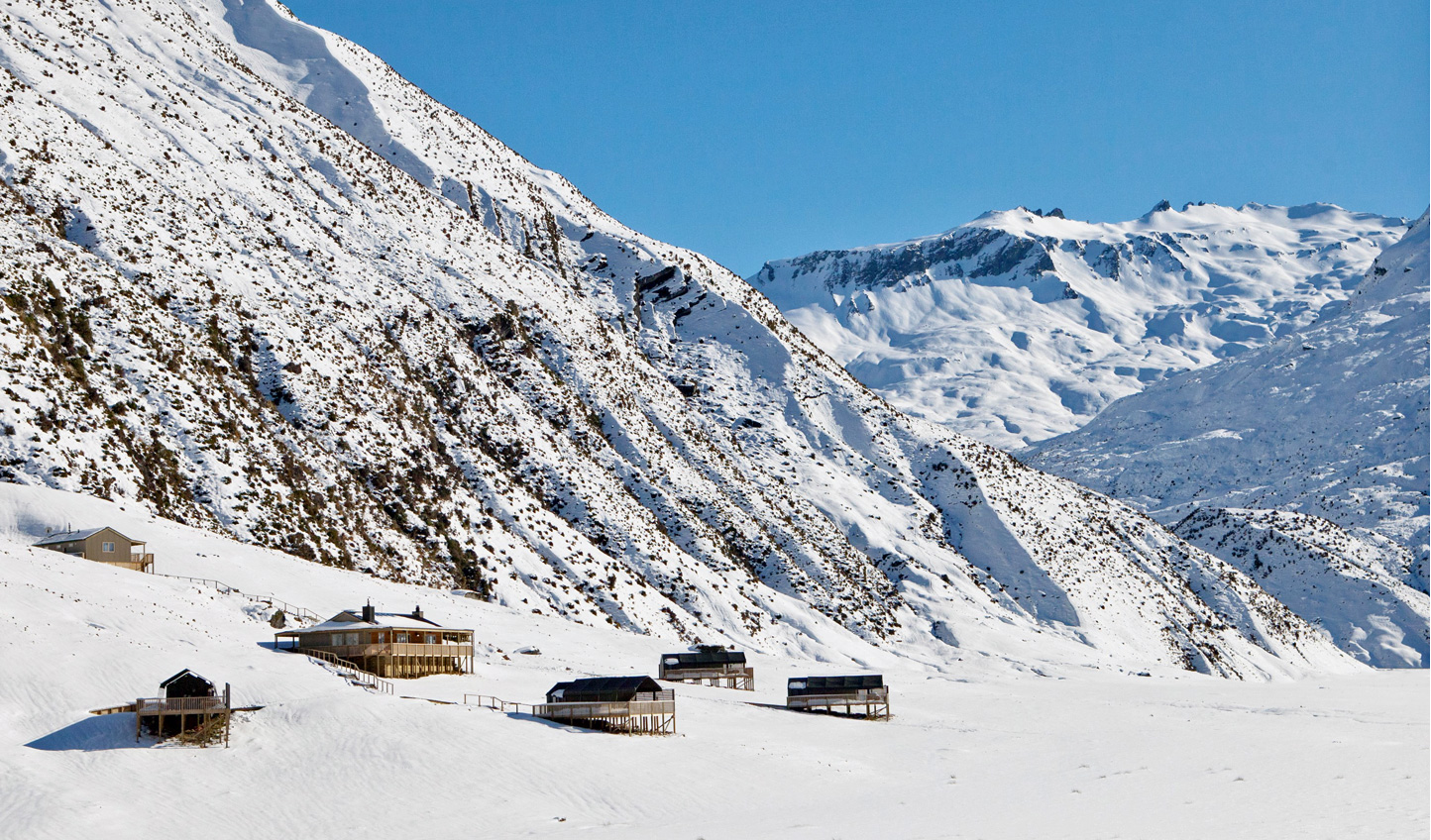 The Minaret Station sits amongst the snowy Southern Alps