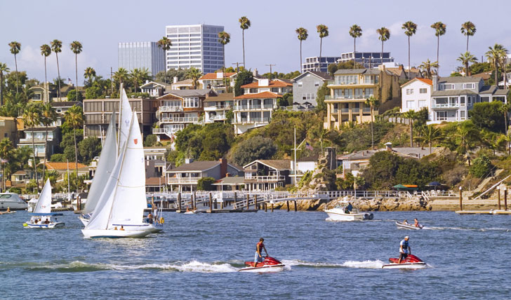 On the water in Newport Beach
