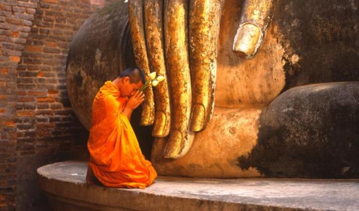 A monk in prayer