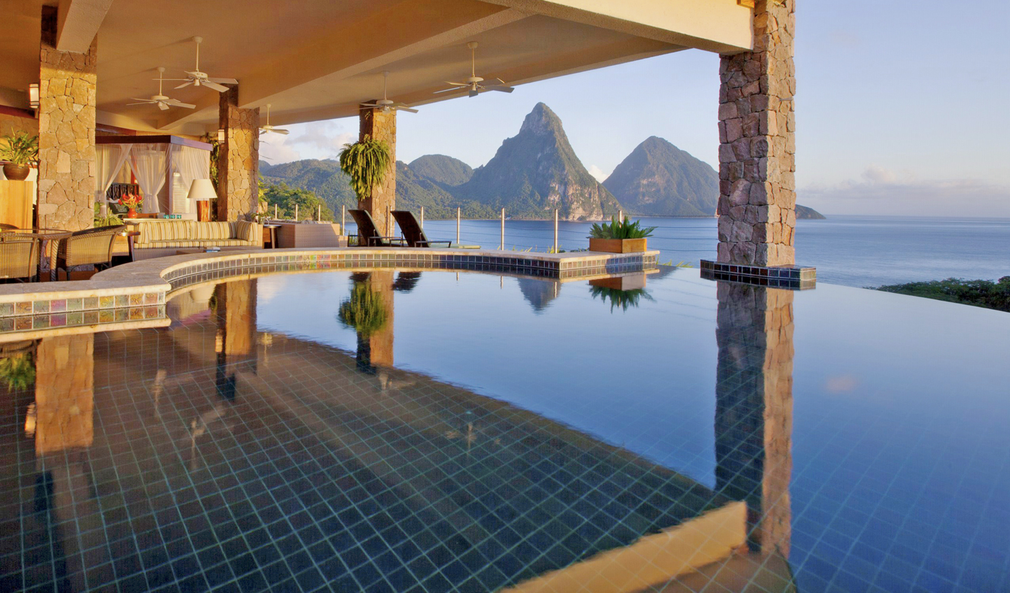 Picturesque Piton views from your private infinity pool