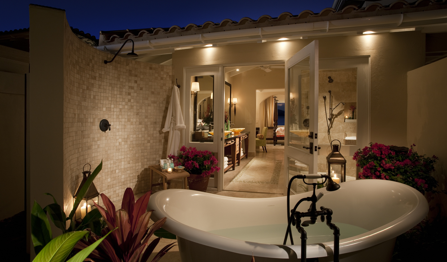 Take it up a notch further than an outdoor shower with an outdoor bath