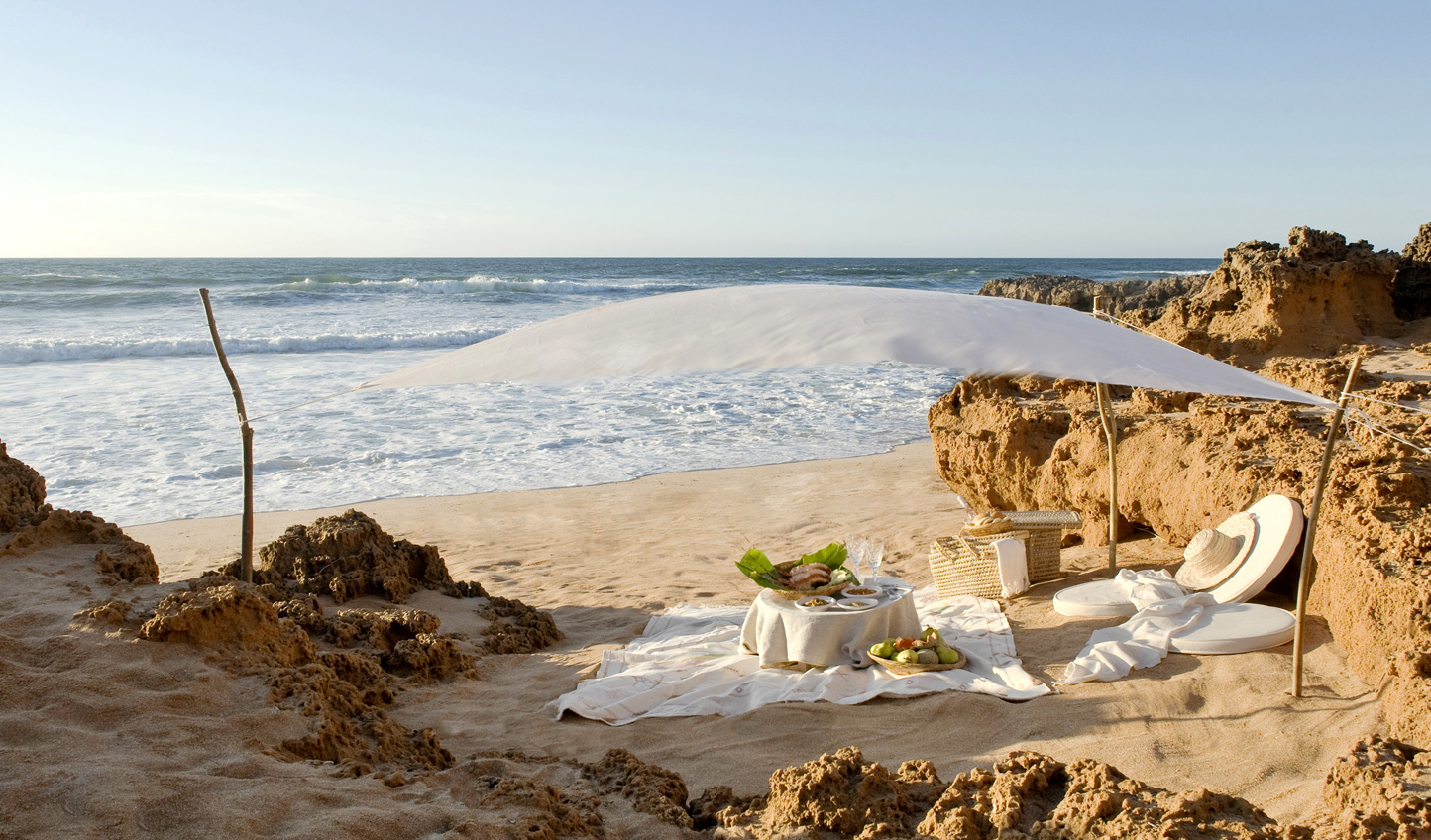 Find a quiet spot for a gourmet picnic on the beach