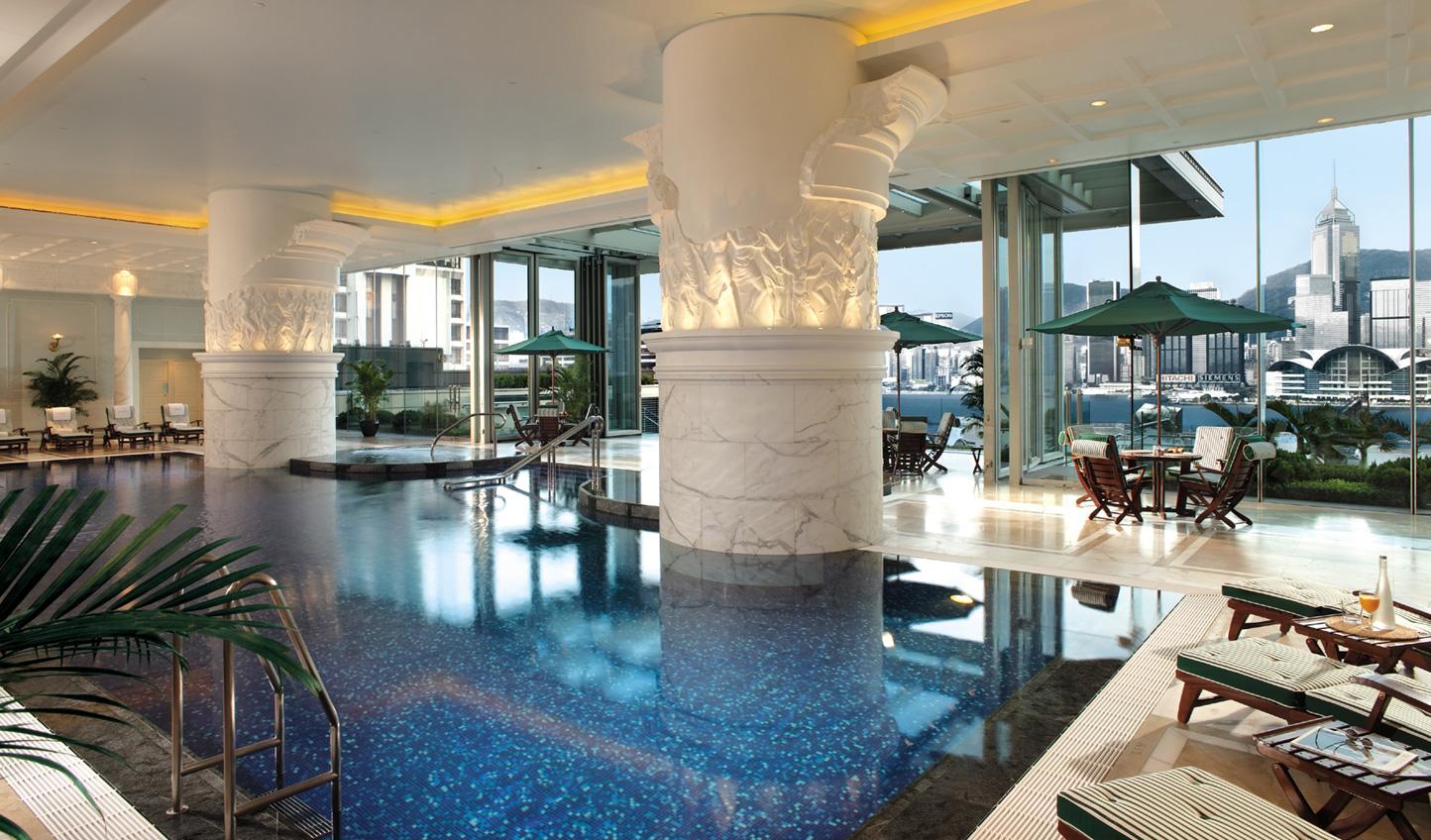 Romesque design creates a grand impression by the pool