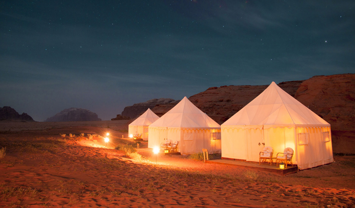 Nighttime suites at the Bedouin camp experience