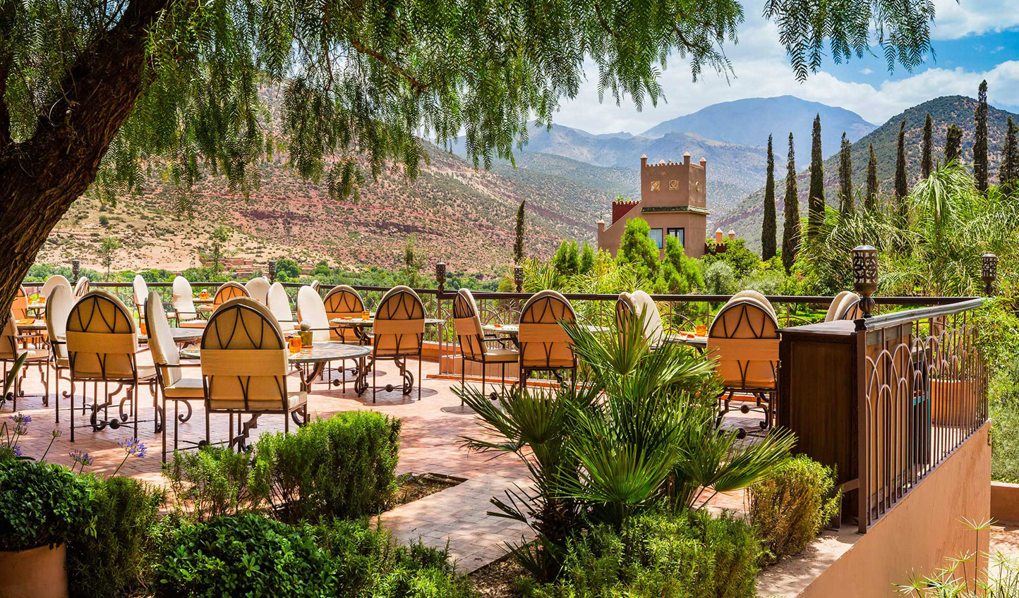 Arrive at the tranquility of Kasbah Tamadot and enjoy a drink in the sun