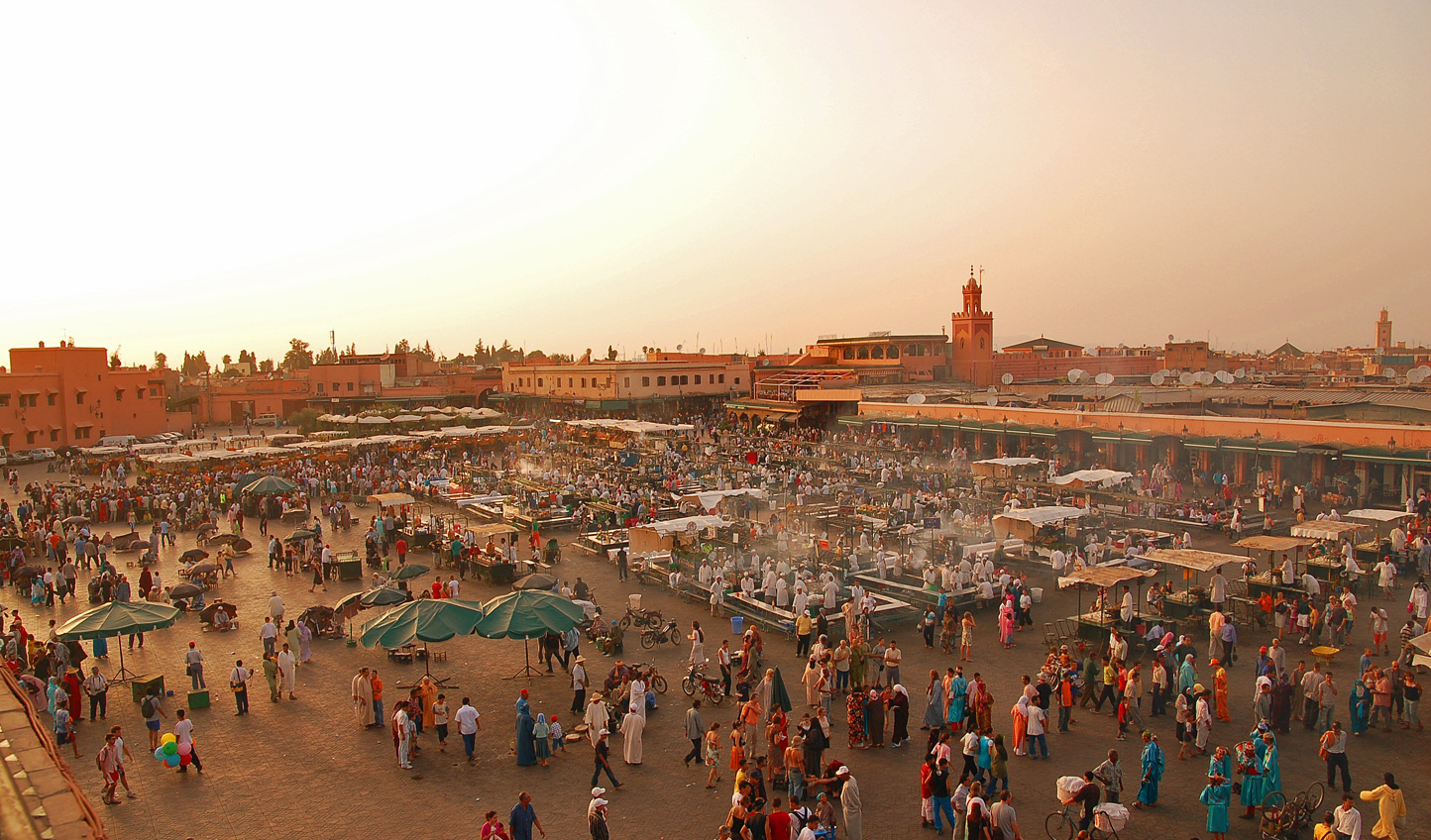 Start amid the hustle and bustle of Marrakech's Jemaa el Fna