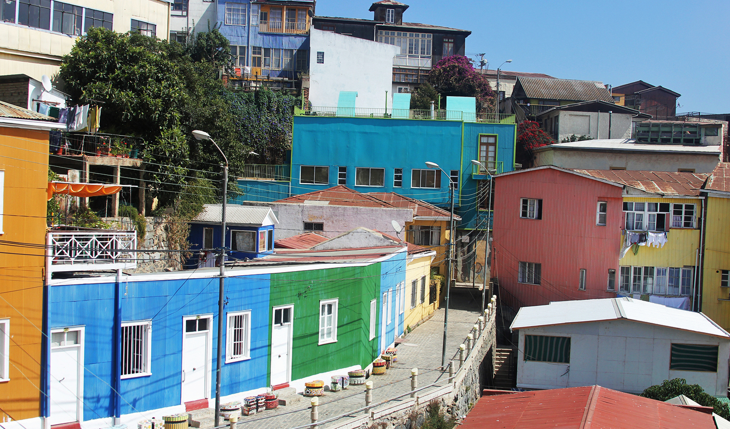 Colorful streets around every corner in Santiago
