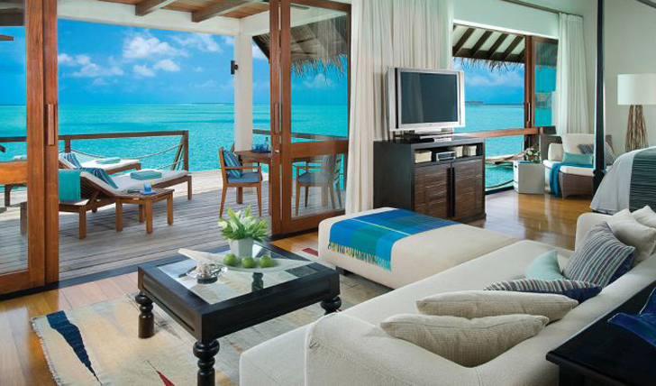 interior of the beach villa at four seasons landaa giraavaru