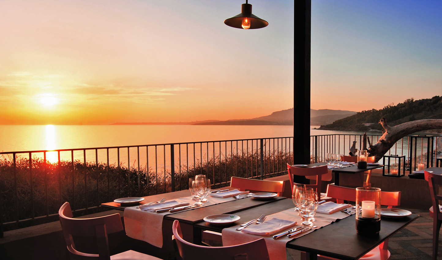 Dinner with the sun setting over the Mediterranean? Yes please.