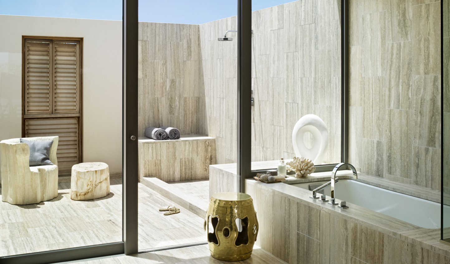 Step into your beautiful indoor-outdoor bathroom