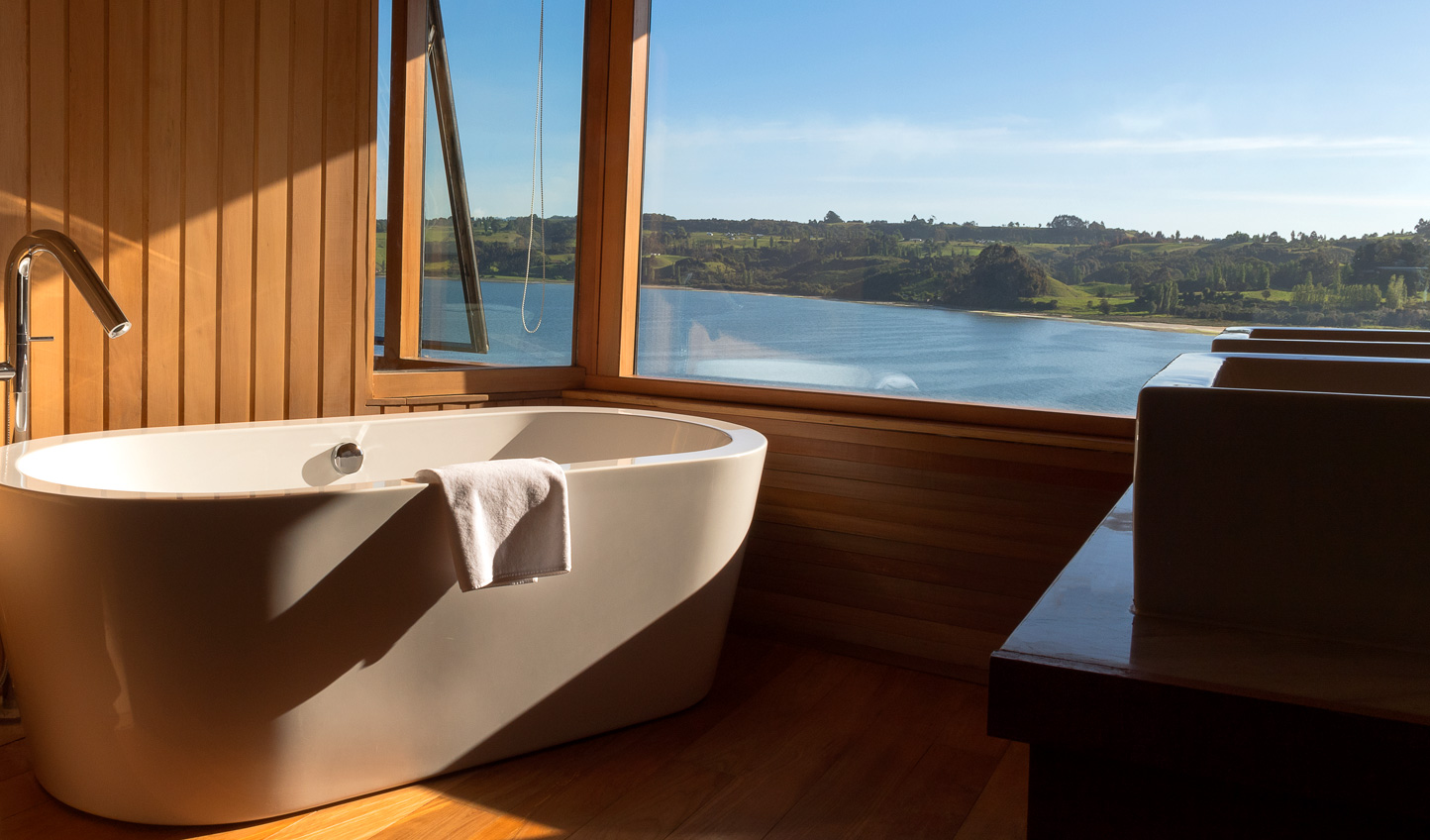 Soak away your stresses in a bathtub with a serious view