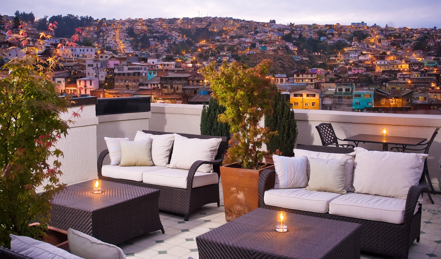 See Valparaiso in style from Casa Higueras's stylish rooftop
