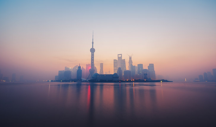 Shanghai skyline at dusk