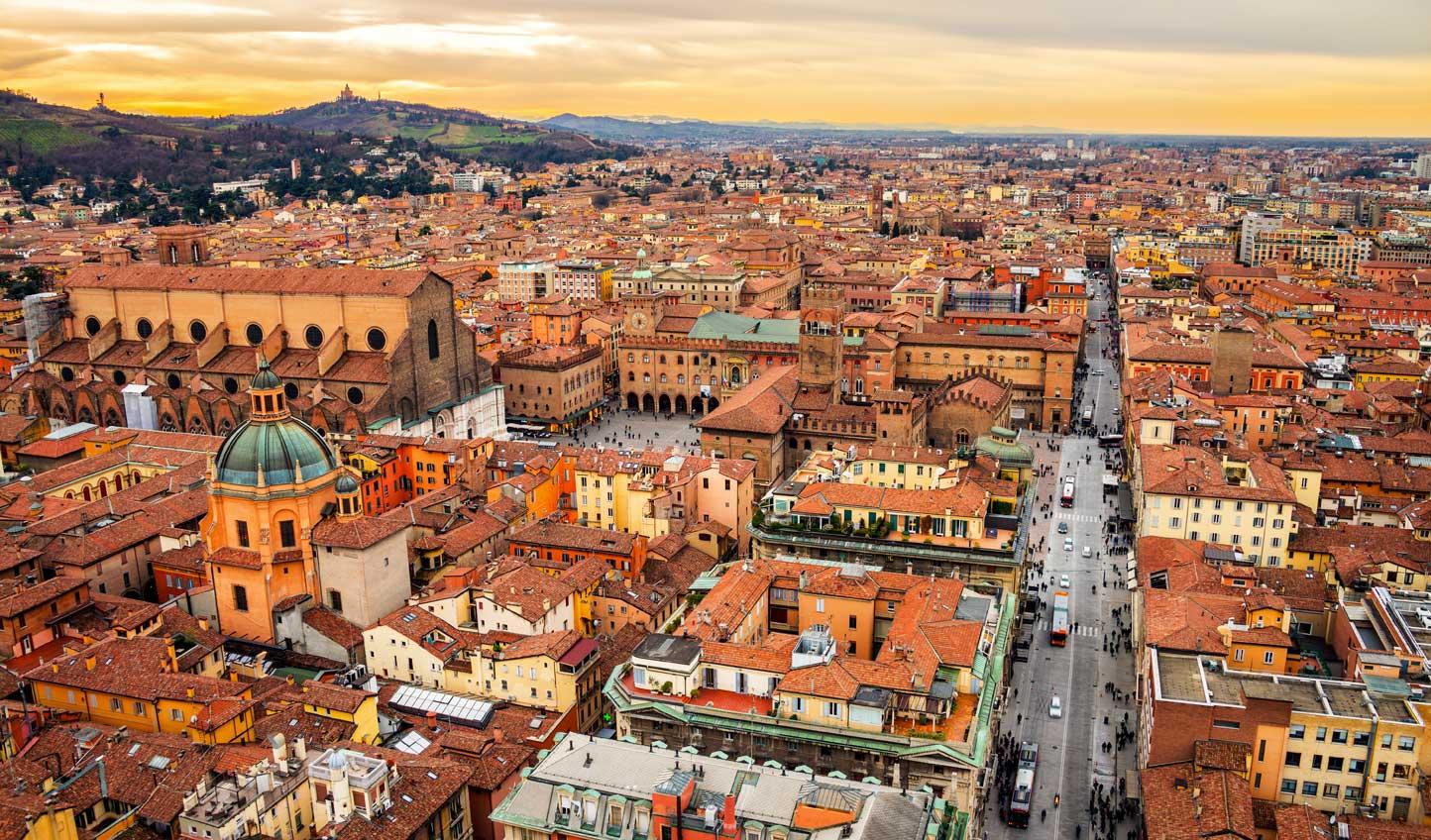 Watch the sun go down over Bologna