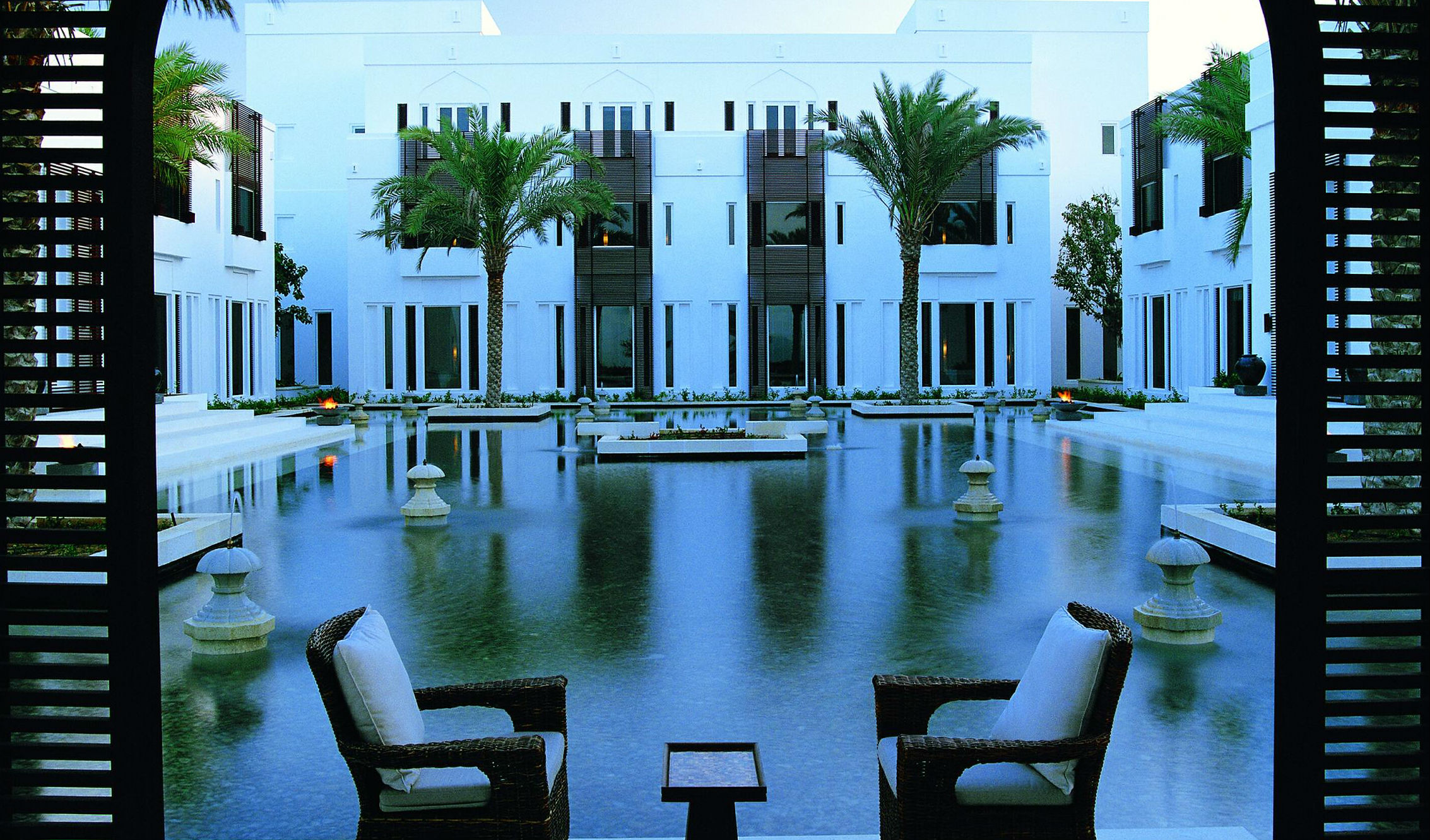 Lounge by the pool at the Chedi Muscat