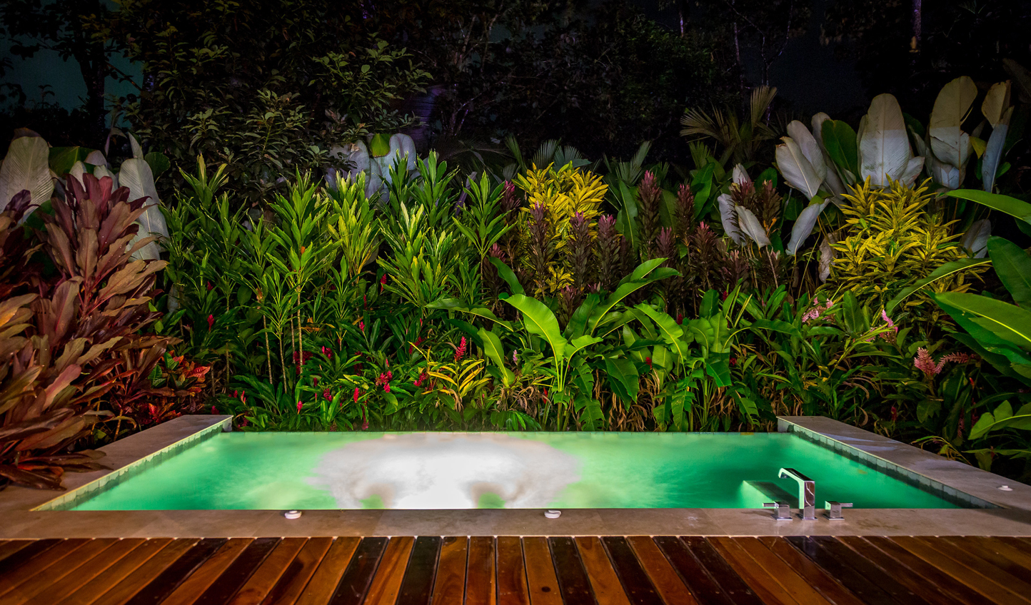 Enjoy the nighttime sounds from your private plunge pool