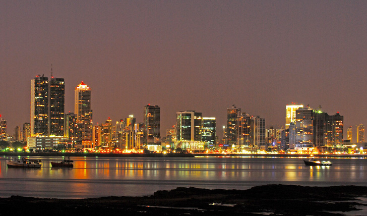 Bright lights of Panama City