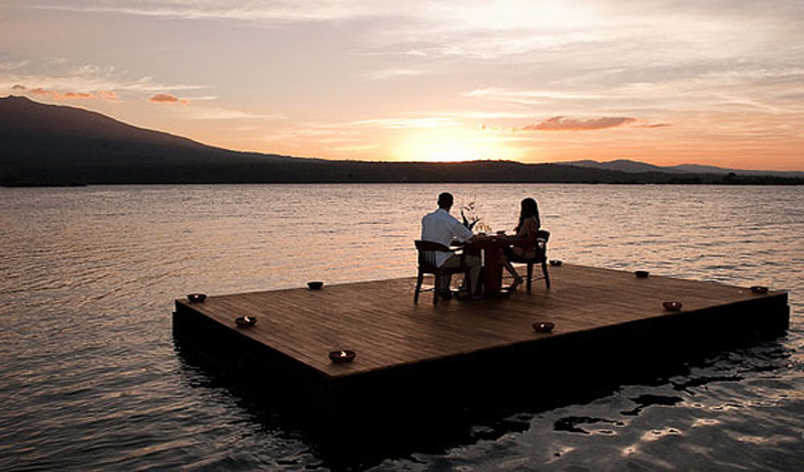 Enjoy a romantic meal on the floating deck