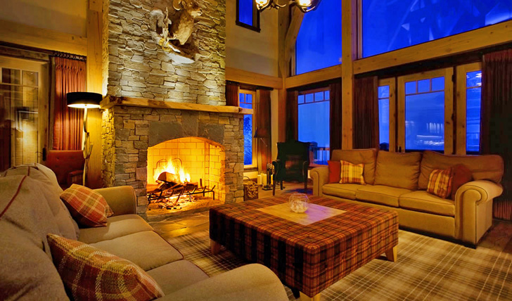 The roaring fire place