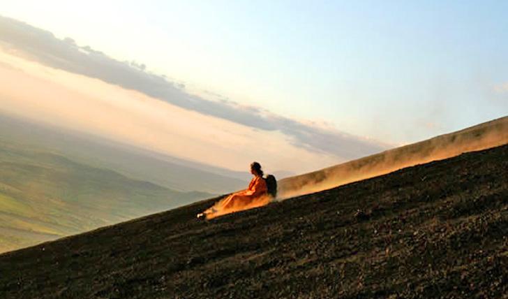 Volcano surfing in Leon, Nicaragua