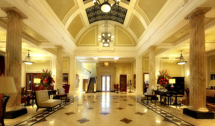 The stunning Lobby of the Taj Hotel