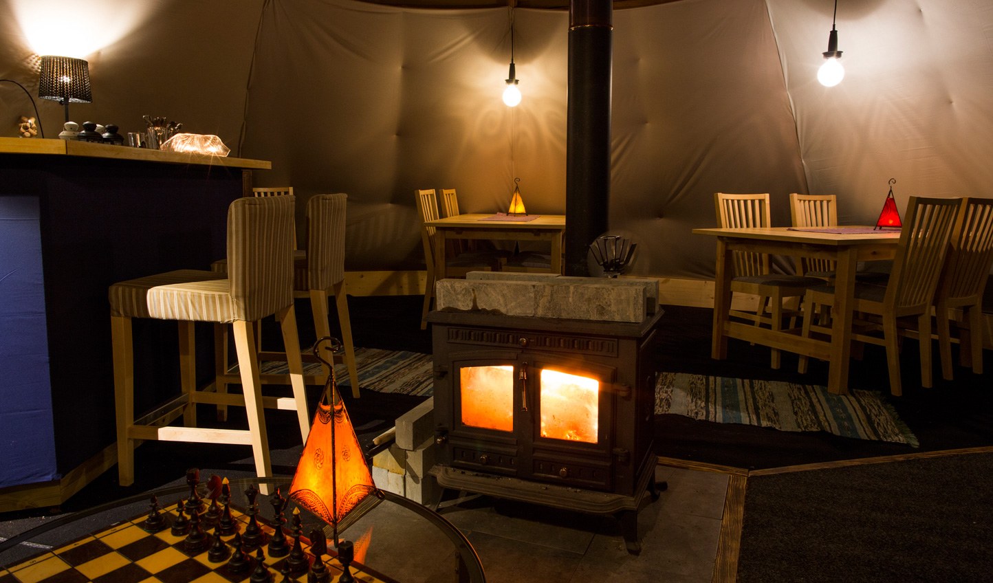 Warm your toes by the fire and have a hot drink