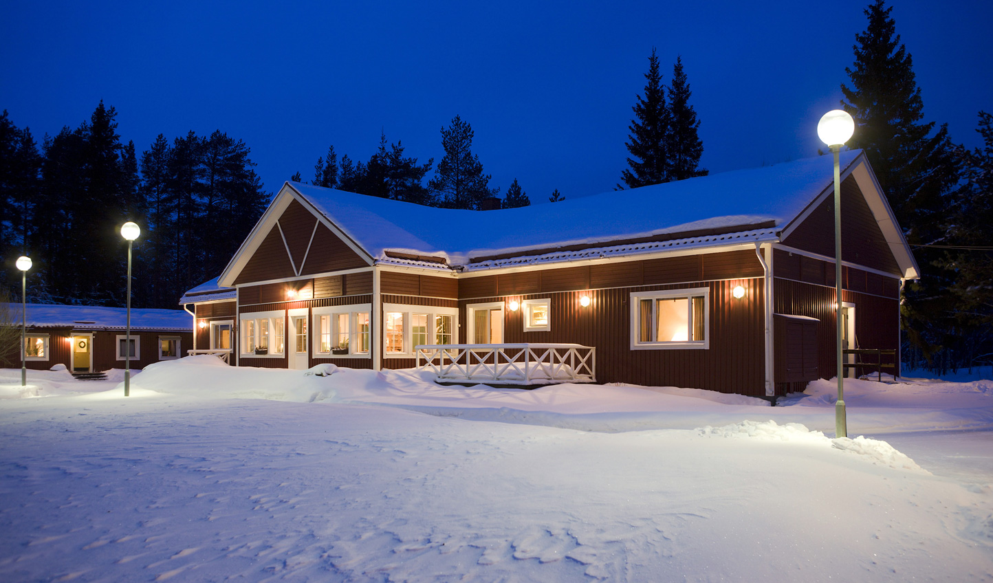 Welcome to a snowy Pine Bay Lodge