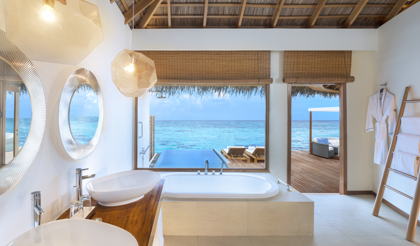 Luxurious bathrooms overlook beautiful lagoons